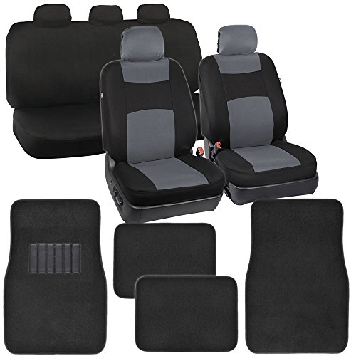 PolyCloth Car Seat Covers Black & Gray Two-Tone Classic & Black Carpet Floor Mats for Auto (2006 Dodge Ram Camo Seat Covers compare prices)