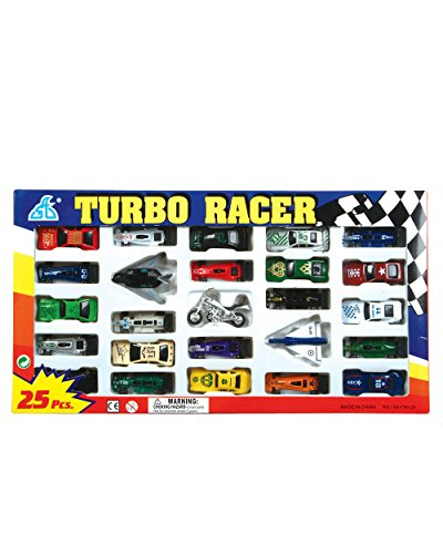 Rhode Island Novelty Turbo Racer Car, Airplane and Motorcycle Set, 25-Piece