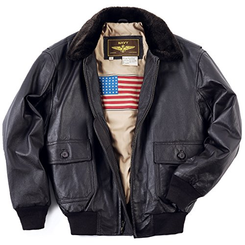 Landing Leathers Men`s Navy G-1 Leather Flight Bomber Jacket - Brown L