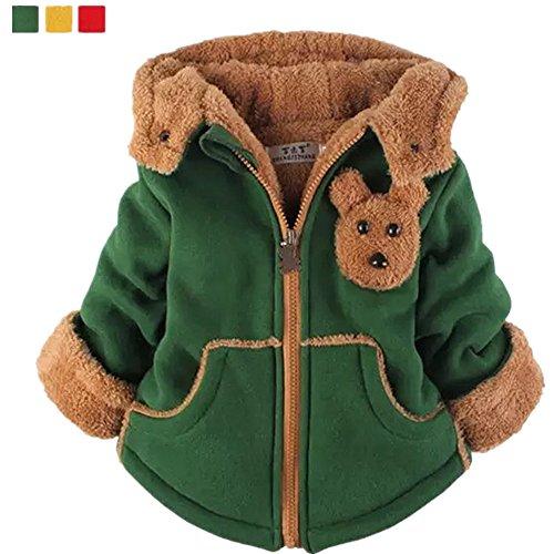 Yan's Baby Winter Coat Jacket Thick Wool Inside Kids Warm Winter Girls Boys Winter Top (2-Year Old, Green)