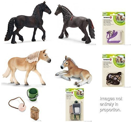 Large Schleich Farm Horse Care Set of 8 with Frisians, Haflings, Treat Set, Blankets, Wheelbarrow and Feed