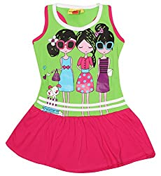 Tomato Girls' Regular Fit Frock (SH 74, Green and Pink, 4 Year)