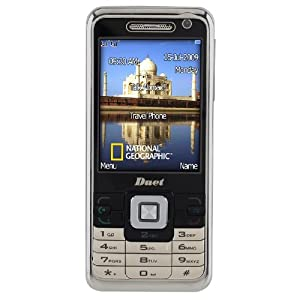 National Geographic Duet/6002 Talk Abroad Unlocked Phone with 1 GB Memory, 2.0 MP Camera, Video, TV, USB, Bluetooth, MicroSD Slot, National Geographic Wallpapers, Ringtones and SIM Card Service--International Version with Warranty