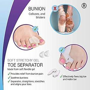 Orthopedic Bunion Corrector & Bunion Relief Elastic Sleeve Protectors, Gel Separators Spacer Spreader, Hammer Turf Big Toe Brace Straightener Splint, Ball Stretcher Heel Cushion Inserts for Women M-L (Color: Multi)