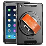 iPad mini Case - New Trent Gladius Mini iPad Case Compatible: iPad mini - iPad mini 2 and iPad mini 3 Rugged 360 Degree Rotation Leather Hand Strap with Built-in Stand - Screen Protector (not for mini 4)