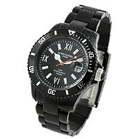 [アランディベール]腕時計 100m防水ダイバー 天然ダイヤモンド メンズ 時計 ブラック