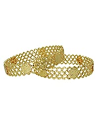 Anjan Charming Traditional Brass 18K Yellow Gold Plated Bangle Set For Womem Size_2.4