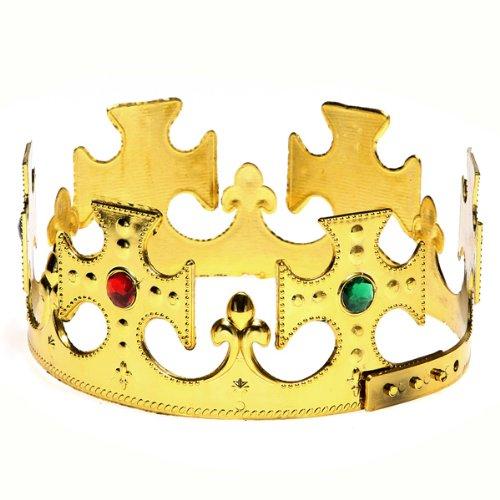 Plastic Golden Jeweled Adjustable Royal King Crown Costume Boy Hat