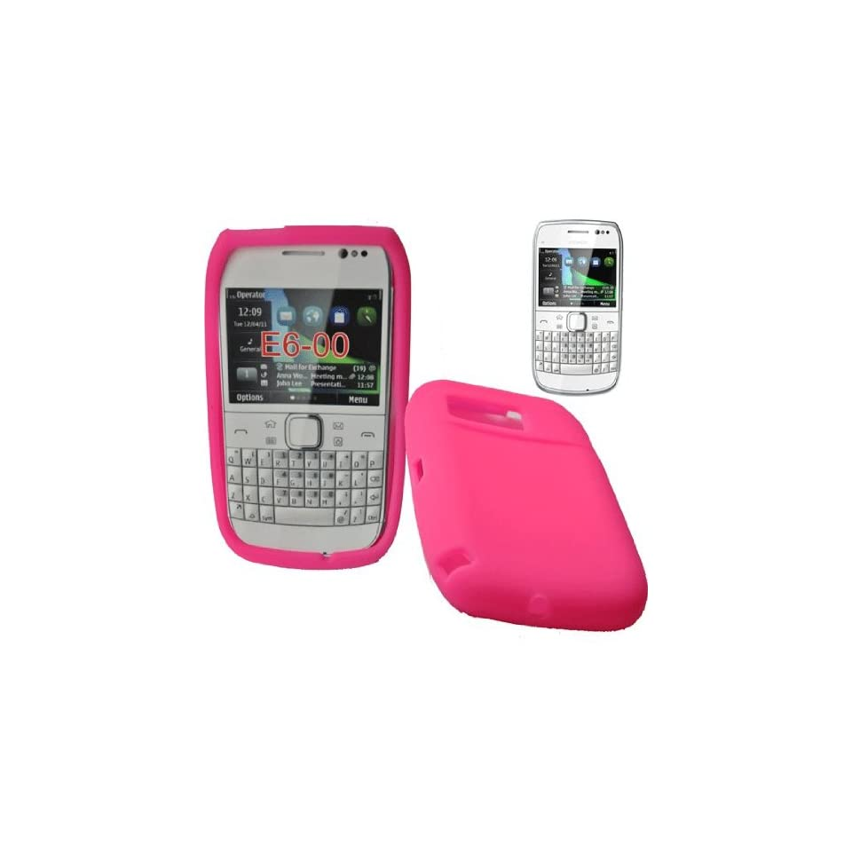 Mobile Palace  Pink silicone skin case cover pouch with screen protector for Nokia E6