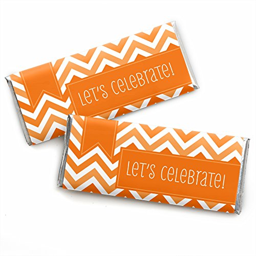 Chevron Orange - Candy Bar Wrapper Baby Shower Favors (Set Of 12) front-718747