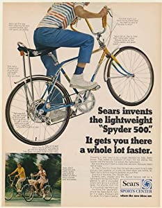 1970 Sears Spyder 500 Bicycle Boy Girl Bike Gets You There a Whole Lot Faster Print Ad (Memorabilia) (55886)
