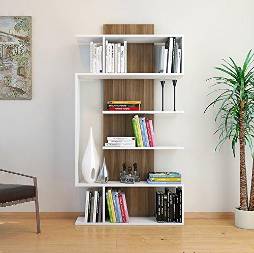 JOKE Libreria - Bianco / Noce - Scaffale per libri - Scaffale per ufficio / soggiorno dal design moderno