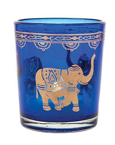 Luna Bazaar Painted Glass Candle Holder (3-Inch, Elephant Design, Cobalt Blue with Gold Paint) - For Use with Tea Lights - For Home Decor, Parties, and Wedding Decorations (Cobalt Blue Tea Light Holders compare prices)