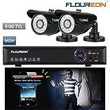Floureon@ Kit DVR Videosorveglianza Sistema, DVR 960H H.264 4 CH Canali , HDMI(1920*1080) VGA + 2xTelecamera 800TVL HDMI Esterno Impermeabile - TVCC/CCTV ,Supporta iOS, Android Phone, 3G ,WIFI/WIRLESS ,USB ,LAN, INFRAROSSI , Alta Risoluzione, Sicurezza Giorno e Notte