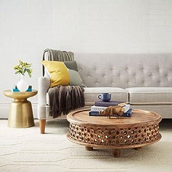 Legno Dekor Side carving tavolino, mango naturale, 80x 80x 30cms