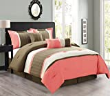Modern 7 Piece Bedding Coral Pink / Brown / Beige Emboidered and Pin Tuck QUEEN Comforter Set with accent pillows
