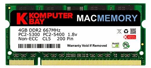 Komputerbay J33 Macmemory Apple Arbeitsspeicher 4GB (PC2-5300, 667MHz, 200-polig) DDR2-SODIMM für Apple iMac und Macbook Speicher
