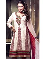 Exotic India Chic-White Choodidaar Kameez Suit With All-Over Chikan - Chic-White