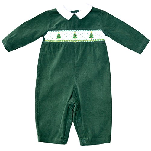 Baby Boy's Hand Smocked Holiday Longall - Green Corduroy with Christmas Trees