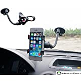 Universal Long Armed 360 Degree Turning Double Clip Windshield Car/Boat Mount fits up to 6-Inch Smartphones, iPhone 7/7 Plus and GPS Devices