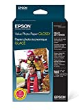 "Epson Value Photo Paper Glossy, 4""x6"", 100 Sheets (S400034)"