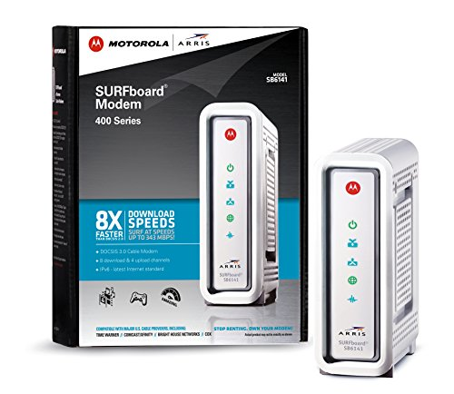 ARRIS / Motorola SurfBoard SB6141 DOCSIS 3.0 Cable Modem - Retail Packaging - White