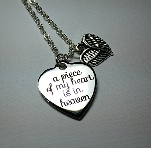 A Piece of my Heart is in Heaven Memorial Necklace (Little Feet Necklace compare prices)