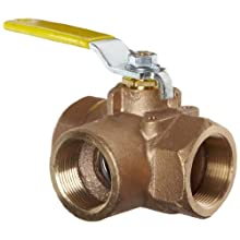 Apollo 70-600 Series Bronze Ball Valve, Two Piece, 3-Port Diverting, Lever, NPT Female