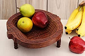 Impressive Christmas Holiday Gift - Hand Carved Wooden Collapsible Fruit Basket (14 x 9 inches) Kitchen Accessory