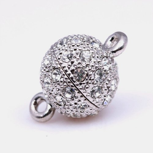 14Mm A Grade Ball Round Pave Screw Clasps Set With Cz Crystal White Gold Plated Jewelry Finding Clasp For Necklace Bracelet Jewelry Making