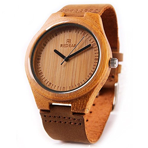 Casual Bamboo Wooden Wrist Watches by Redear with Natural Cowhide Leather Strap Japanese Quartz Movement