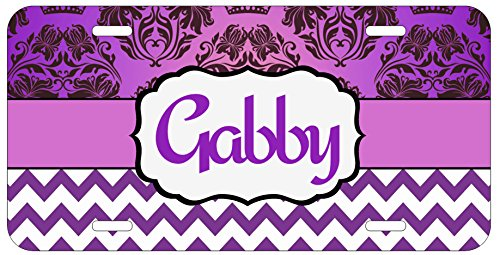 Personalized Monogrammed Chevron Damask Purple Car License Plate Auto Tag (Personalized Car Accessories compare prices)