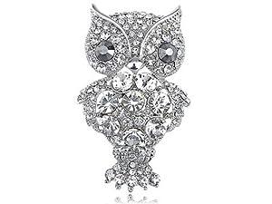 Clear Crystal Rhinestone Fat Cartoon Happy Perched Owl Branch Fashion Pin Brooch