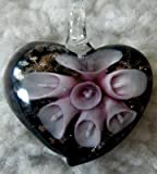 Murano Style Heart with Purple Flowers Pendant + FREE RIBBON NECKLACE + GIFT BOX
