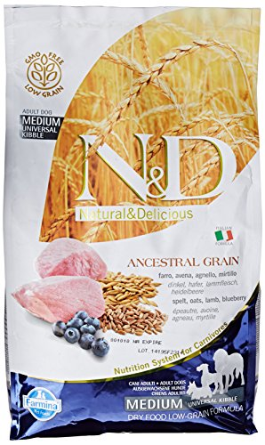 Farmina (Russo Mangimi) - Natural & Delicious Low Ancestral Grain Adult Medium con Agnello e Mirtillo Sacco 2,50 kg