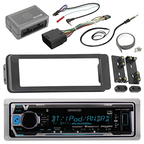 Kenwood KMRM315BT Marine Radio Stereo Receiver For 1998 2013 Harley Davidson Touring Flht Flhx Flhtc Bundle With Scosche Adapter Dash Kit With Handle Bar Control Module + Enrock Wire Antenna