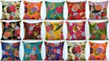 Worldoftextile Printed Kantha Work Cushion Cover 16'' Size Pillow Case