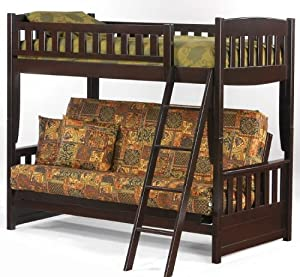 Newport Twin over Futon Bunk Bed with Dark Chocolate Finish