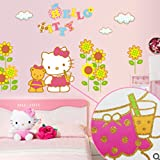 Liroyal Gold Sunflower Hello Kitty Girls Bedroom Wall Car Stickers from Wall Stickers Warehouse Background sticker