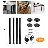 Kullavik 28 Inch Height Metal Heavy Duty Furniture Legs,Adjustable Durable Legs for Office Desk,Coffee Table,Kitchen Table,2 Inch Diameter(Set of 4)-Black (Color: Black, Tamaño: 28 inch)