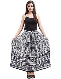 Jaipur Skirt Women's Rayon And Crepe Regular Fit Skirt (Large, White And Black)