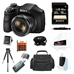 Sony DSC-H300/B DSCH300B H300 20.1MP with 35x Optical Zoom and 3-inch LCD + Sony 16GB SDHC + Focus AA Batteries w/ Charger + Sony Camera Case with Accessory Kit