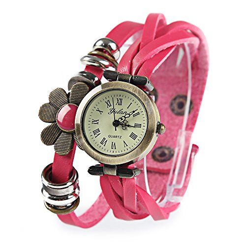 Dayan Flower Sense Retro Wrap Around Weave Leather Watch Bracelet Wrist Watch Wristband Pink