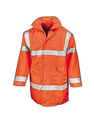 Result Safeguard jacket (EN471 Class 3) - Fluorescent Orange - XL with High Visibility Reflective Slap On Wrist...
