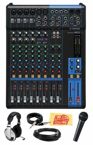Yamaha Mg12 12-Channel Mixing Console Bundle With Vocal Mic, Headphones, Xlr Cable, Instrument Cable, And Polishing Cloth