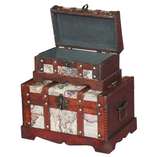 Vintiquewise(TM) Old World Map Wooden Trunk/Box, Set of 2 1