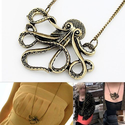 LE Vintage Bronze Style Octopus Pendant Long Chain Necklace Party