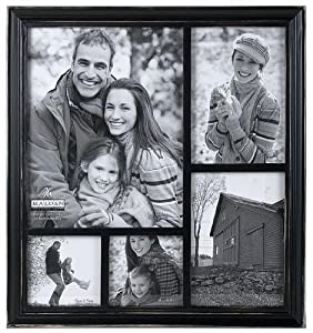 WASHED BLACK stain ridged 5-opening collage frame by Malden Design -