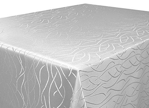Tischdecke-silber-Rund-135-cm-in-glanzvoller-Streifenoptik-eckig-Gre-Farbe-Form-whlbar-Rund-Eckig-Oval