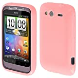 EGO® Back Case für HTC Wildfire S Rosa mit Glitzer Slim Silikon Handy Tasche Schutzhülle Cover Bumper Hülle Back Case